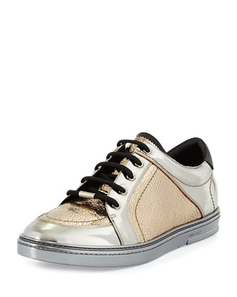 Sidney Men's Metallic Low-Top Sneaker, Silver