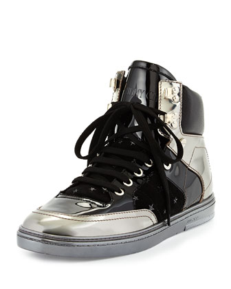 Bradley Men's Metallic High-Top Sneaker, Gunmetal
