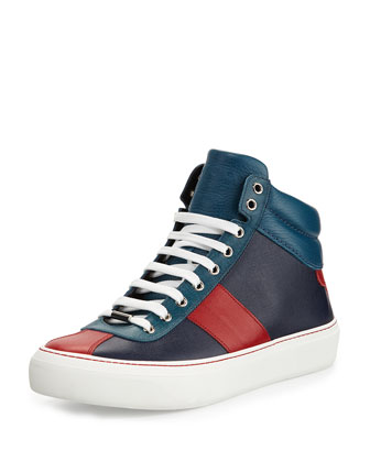 Belgravia Men's Saffiano High-Top Sneaker, Blue/Red/Marine