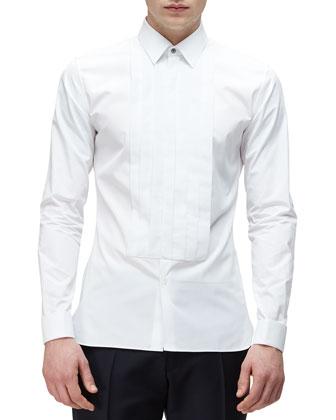 Long-Sleeve Formal Tuxedo Shirt, White