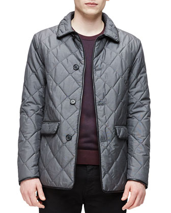 Diamond-Quilted Button-Up Jacket, Dark Gray