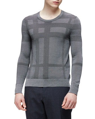 Tonal Crewneck Woven Sweater, Light Gray