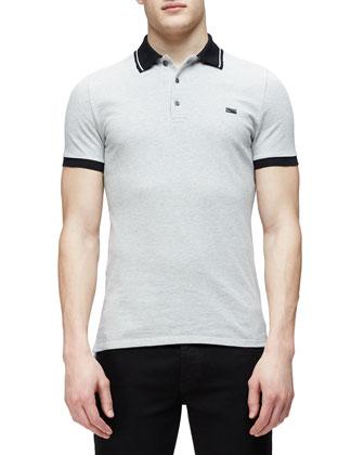 Short-Sleeve Contrast Collar Polo Shirt, Gray
