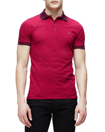 Short-Sleeve Contrast Collar Polo Shirt, Pink