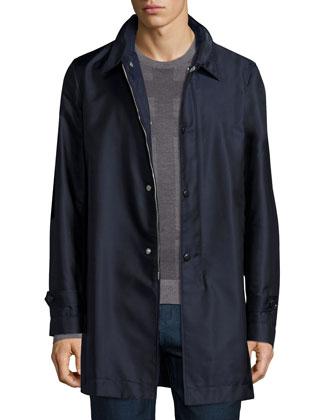 Nylon Car Coat & Tonal Check Crewneck Sweater
