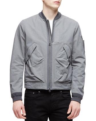Garment-Wash Zip-Up Jacket, Gray