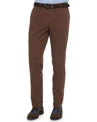 Flat-Front Cotton Pants, Barley
