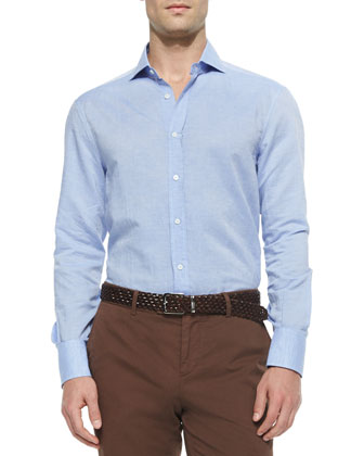 Solid Long-Sleeve Sport Shirt, Ink Blue