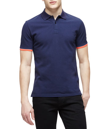 Short-Sleeve Tipped Pique Polo Shirt, Navy