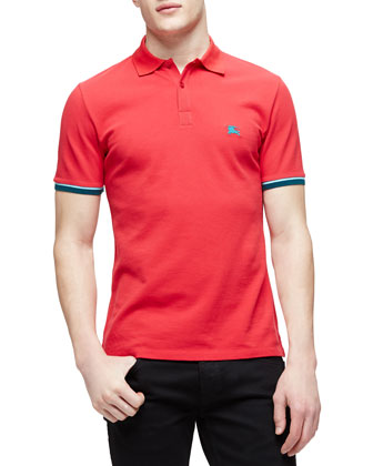 Short-Sleeve Tipped Pique Polo Shirt, Red