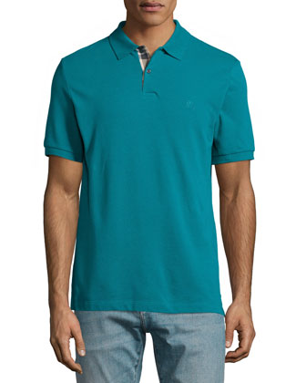 Short-Sleeve Pique Polo Shirt, Dark Teal