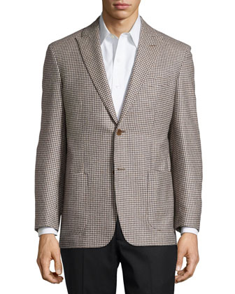 Houndstooth Sport Coat, Tan, Long