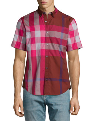 Fred Exploded Check Woven Shirt, Deep Burgundy