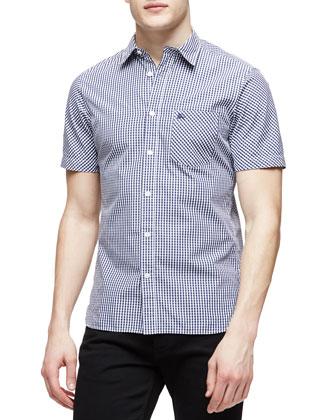Short-Sleeve Gingham Pattern Shirt, Navy