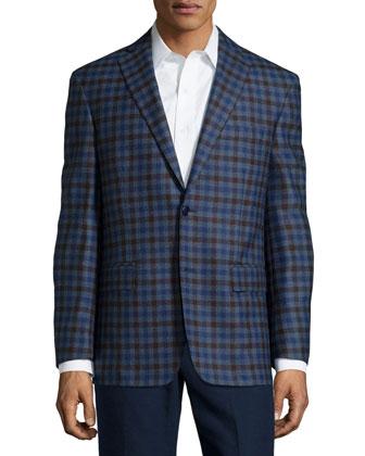 Wool Plaid Sport Coat, Blue/Brown Check, Short