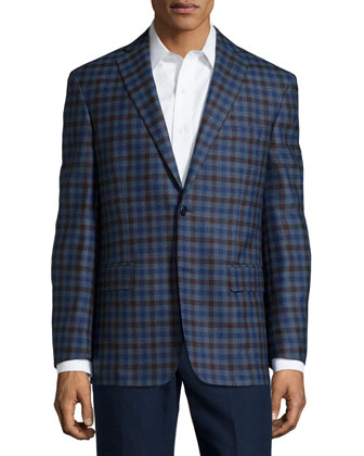 Wool Plaid Sport Coat, Blue/Brown Check, Regular