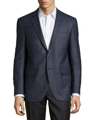 Check Sport Coat, Navy, Long