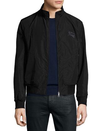 Zip-Front Blouson Jacket, Black