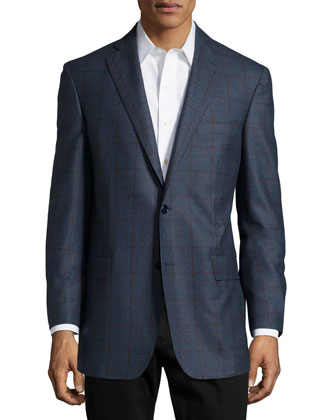 Plaid Sport Coat, Slate Blue, Regular