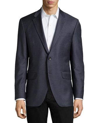 Houndstooth Sport Coat, Blue/Gray, Regular