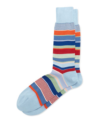 Bold Multi-Striped Socks, Blue