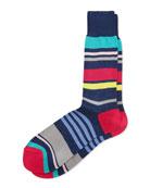 Summer Striped Socks, Navy