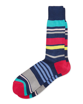 Summer Striped Socks, Navy
