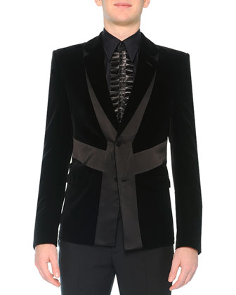 Velvet Evening Jacket with Satin Detail & Slim-Fit Trouser with Poppy ...