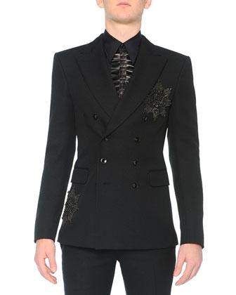 Beaded-Medallion Evening Jacket, Poplin Shirt with Leather Ruffle & Slim ...