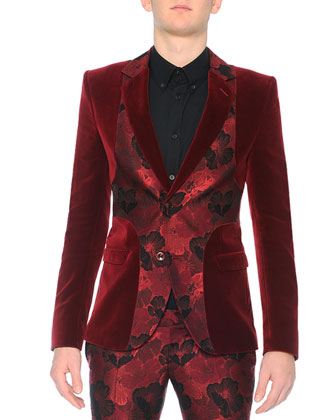 Velvet Evening Jacket with Poppy Front, Harness Long-Sleeve Sport Shirt & ...