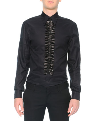 Poplin Shirt with Leather Ruffle, Black