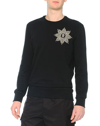 Beaded Skull-Medallion Crewneck Sweatshirt & Cargo Pants with Velvet Flaps