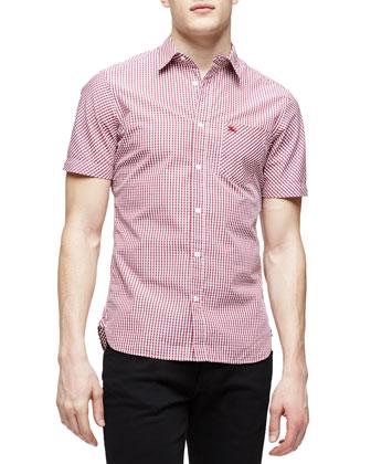Short-Sleeve Gingham Shirt, Red