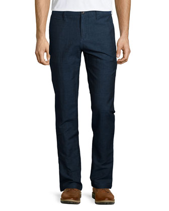 Slim-Fit Cotton-Blend Trousers, Navy