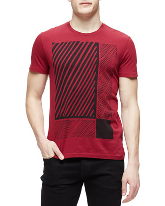 Abstract Check-Print Woven Tee, Red