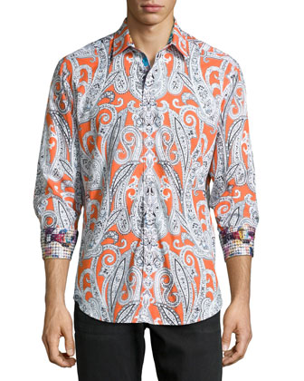Thrill Seeker Printed Sport Shirt, Orange