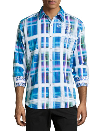 Seattle Plaid Sport Shirt, Blue