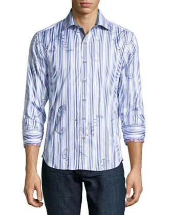 Pueblo Striped Sport Shirt, White