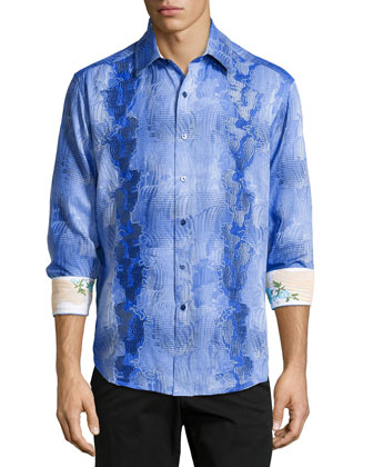 Tropical Vista Long-Sleeve Sport Shirt, Blue