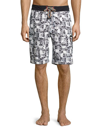 Bail-Out Skull Print Swim Trunks, Multicolor
