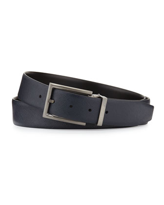 Reversible Leather Belt, Blue/Black