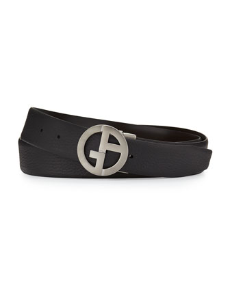 Reversible Leather Belt with Logo Buckle