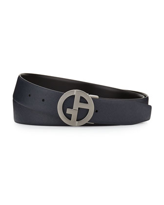 Reversible Calf Leather Logo Belt