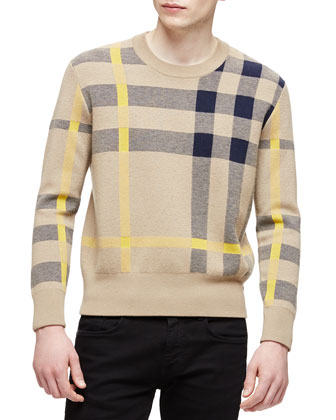 Long-Sleeve Exploded Check Sweater, Tan