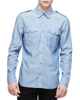 Solid Long-Sleeve Military Shirt, Light Blue