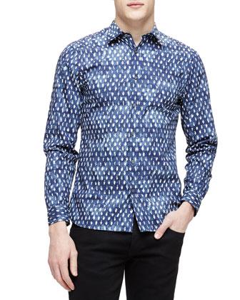 Leaf-Print Long-Sleeve Shirt, Blue