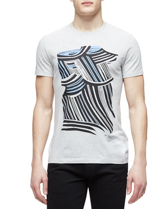 Rain-Print Graphic Tee, Gray