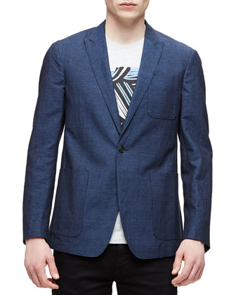 Lightweight Relaxed Sport Coat, Navy