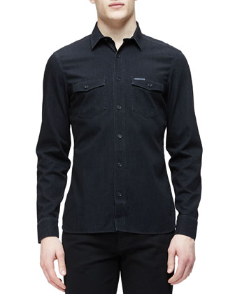 Military-Style Woven Denim Shirt, Indigo