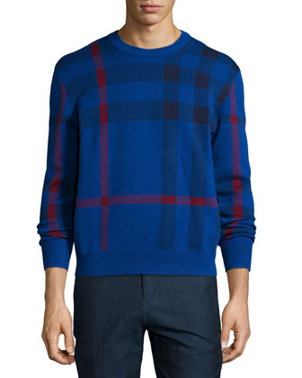 Redbury Exploded-Check Sweater, Navy